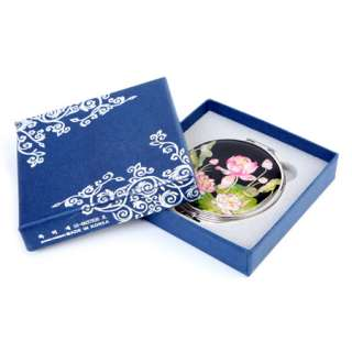 of Pearl Pink Lotus Flower Design Compact Cosmetic Makeup Hand Mirror