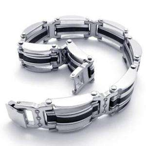 Stainless Steel Silver & Black Lines Mens Bracelet