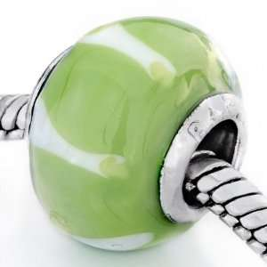 Peridot White Stripes Murano Glass Beads Fits Pandora Charm Bracelet
