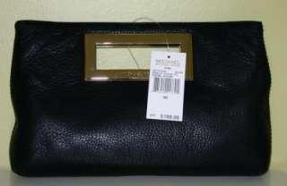 SALE MICHAEL KORS Berkley Clutch Black Gold Leather Bag NWT