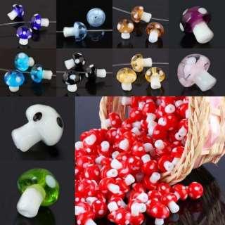 Lampwork Glass Crystal Glass Mushroom Charms Loose Bead
