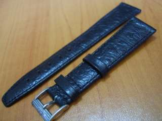 MOVADO SIGNED BLACK LEATHER STRAP BAND + 14MM OLD SS MOVADO BUCKLE