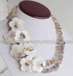 WOWJL Multi Color Crystal White Shell Flower Necklace