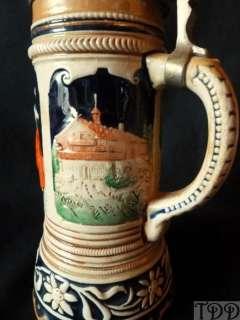 Vintage Ceramic Musical Music Box Beer Stein 8 Trink