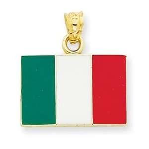 14k Yellow Gold and Enamel Italian Flag Pendant Italy Charm Jewelry