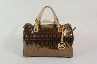 New Michael Kors Grayson Cocoa Monogram Mirror Metallic Large Satchel