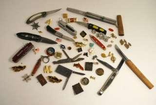 Vintage Junk Drawer lot Estate lot Pins pin backs pocket knifes