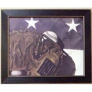Framed Baseball Mitt Vintage United States Flag Picture