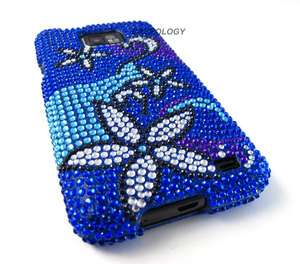 BLUE STARS BLING DIAMOND HARD CASE COVER ATT SAMSUNG GALAXY S II i777