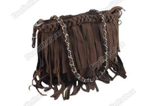 Newest Fashion Celebrity Suede Fringe Tassel Shoulder Bag Womens