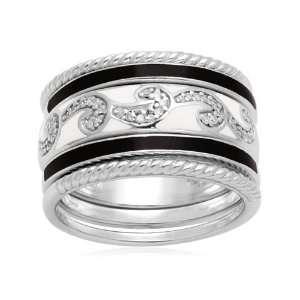Sterling Silver Black White Enamel Swirl Diamond Stack Ring (1/10 cttw