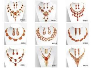 Wedding Bridal crystal necklace earring Jewelry set 293