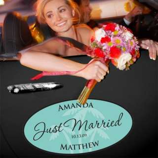 JUST MARRIED PERSONALIZE BEACH WEDDING CAR WINDOW CLING