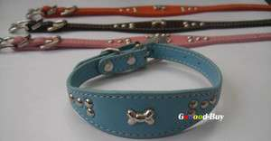 Cute Pet dog cat Kitten Puppy Collar Leather bell 1cm