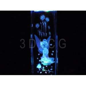 Disney Tinkerbell Sitting with Rose 3D Laser Etched
