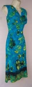 JONES NEW YORK Blue Print Jersey Cocktail Dress 20W NWT