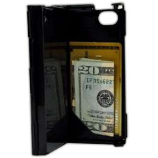iPhone Hard Plastic Durable ID Credit Card Slim Wallet Case   Black