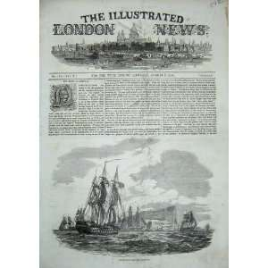 1844 British Fleet Ships Gibraltar War Rock Old Print Home & Kitchen