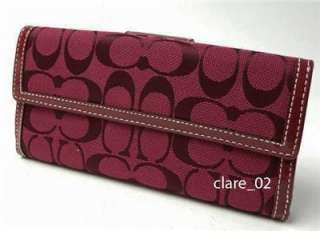 RED COACH SIGNATURE CHECKBOOK TURNLOCK CREDIT CARD WALLET 43613