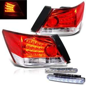 Eautolights 2008 2010 Honda Accord 4 Door LED Red & Clear Tail Lights