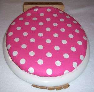 PINK w/ WHITE POLKA DOTS 14 x13 Toilet Seat Lid Cover