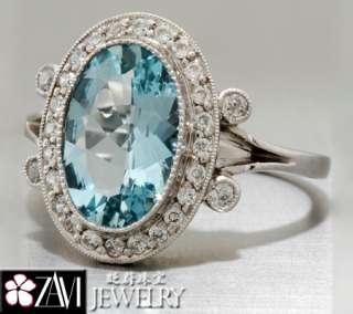 Gemstone Blue Topaz Diamond Ring Band 18K Vintage