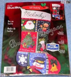 Bucilla MUSICAL QUILT Santa Felt Christmas Stocking Kit