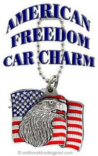 AMERICAN FLAG EAGLE CAR CHARM for REAR VIEW MIRROR   PATRIOTIC GIFT