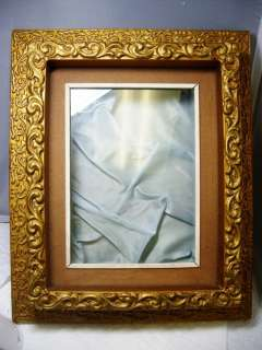 Antique Victorian TRUE SHADOW BOX Gold Gilt Gesso FRAME Back Opens