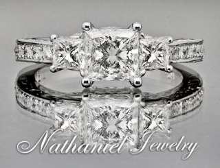 Breaktaking Princess Three Stone Diamond Wedding Ring 14k White Gold