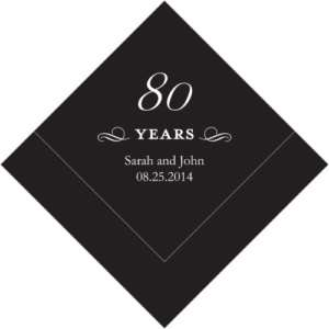 100 Personalized 80th Birthday Luncheon Napkins