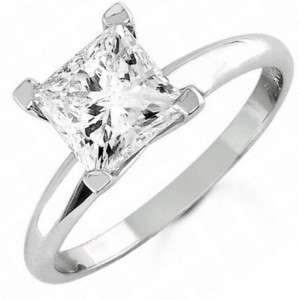 00 CT PRINCESS CUT ENGAGEMENT Solitaire RING GENUINE 14K SOLID WHITE