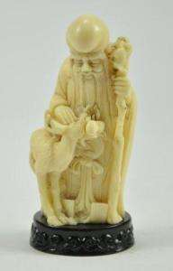 Old Chinese Longevity God Long Life Buddha Resin Statue