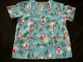 FUN Holiday Print FROSTY Medical Scrub Top Sizes M & L