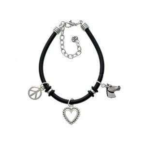 Horse Head Black Rubber Peace Love Charm Bracelet [Jewelry]