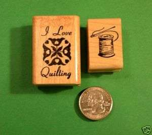 Sewing and Quilting Themed Rubber Stamp Set, 2 wd mtd