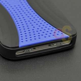 Apple iPhone 4 4s 4gs Black/Blue Hybrid Hard Case Cover Holster Combo