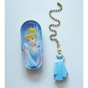 New Disney Princess Cinderella 3 D Figure Ceiling Fan Pull and Tin Box