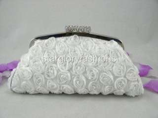 White Roses Wedding Handbag Purse Clutch Lot Crystal CEL 025122