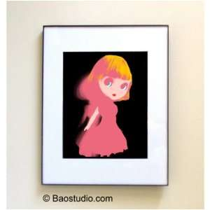Blythe Doll (Black Pink)  Framed Pop Art By Jbao (Signed Dated Matted)
