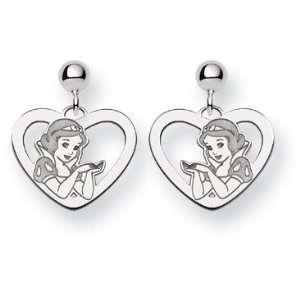 14k White Gold Disney Snow White Heart Earrings Jewelry