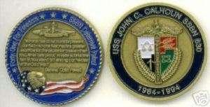 USS John C Calhoun SSBN 630 Submarine Challenge Coin