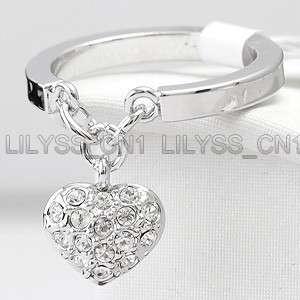 16ct Heart Charm Ring GP use Swarovski Crystal 138RW