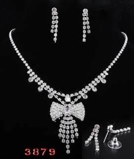 Clear bridal womens Necklace Earring 6set H32388 silver plated free
