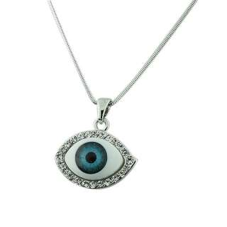 Blue Evil Eye White Crystals Pendant Necklace