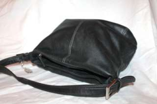 TIGNANELLO Black Pebbled Soft Leather Shoulder Bag Purse Medium