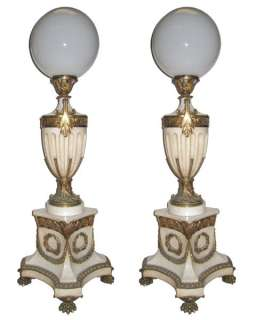 Pair Antique Neoclassical Marble Bronze Floor Lamps