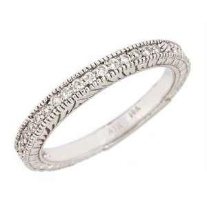 Diamond Wedding Band Millgrain Edge Antique Style 10k White Gold
