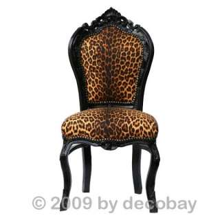 Dining Chair, baroque Style, dining chair with glossy solid wood black