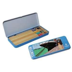 OF TINTIN BLUE METAL PENCIL BOX WITH 8 TINTIN PENCILS